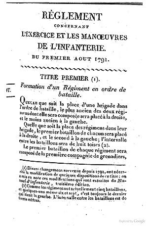 Règlement concernant l'exercice et les manoeuvres de: France : Ministere
