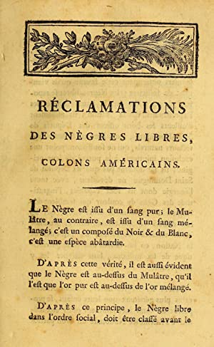Rà clamations des nà gres libres, colons: Unknown