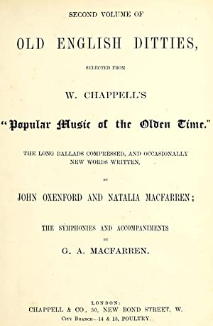 Old English ditties : selected from W.: Oxenford, John, 1812-1877,Chappell,