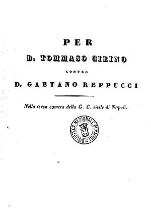 Per d. Tommaso Cirino contro d. Gaetano: Achille Schettini