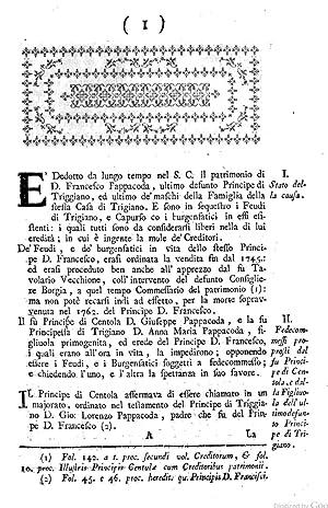 Per gli creditori del patrimonio del defunto: Belisario De Bellis