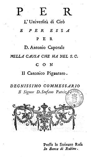 Per l'Università di Cirà e per essa: Giuseppe Toscano