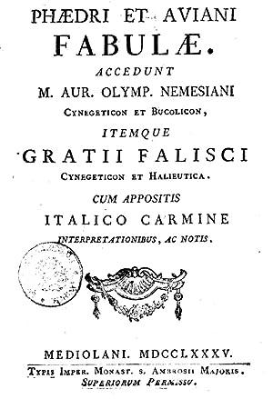 Phaedri et Aviani Fabulae. Accedunt M. Aur.: Phaedrus