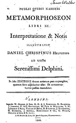 Publii Ovidii Nasonis Metamorphoseon libri XV [Reprint]: Ovid
