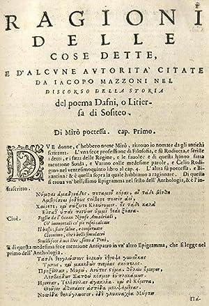 Ragioni delle cose dette, e d'alcune autotoritÃ: Jacopo Mazzoni