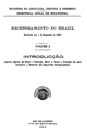 Recenseamento do Brazil. Realizado em 1 de: BRASIL, Ministerio da