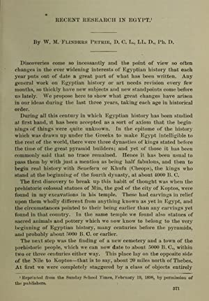 Recent research in Egypt [Reprint] (1898): Petrie, W. M.