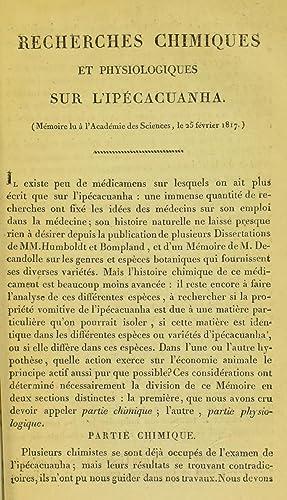 Recherches chimiques et physiologiques sur l'ipà cacuanha: Royal College of