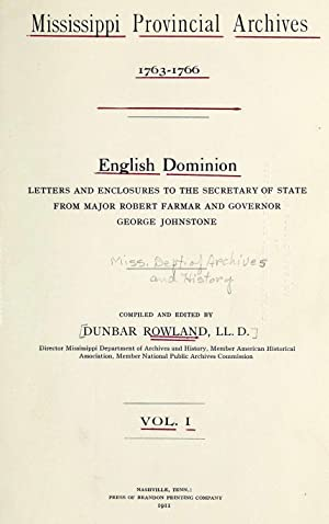Mississippi provincial archives. English dominion (1911) (Volume: Mississippi. Dept. of