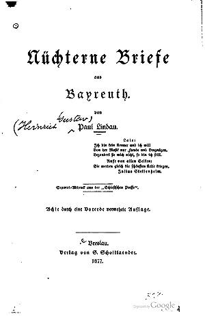 Nuchterne Briefe aus Bayreuth [Reprint]: Paul Lindau