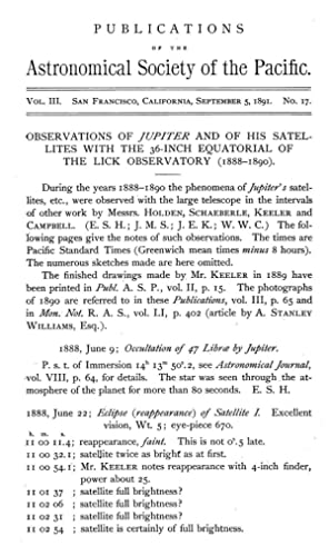 OBSERVATIONS OF JUPITER AND OF HIS SATELLITES: W. W. C.