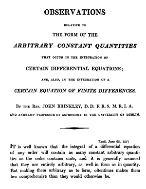 Observations Relative to the Form of the: Brinkley, John