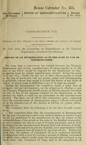 Oleomargarine tax . Report on an investigation: United States. Congress.