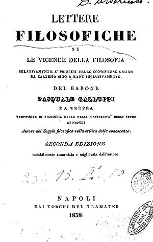 Lettere filosofiche su le vicende della filosofia: Pasquale Galluppi