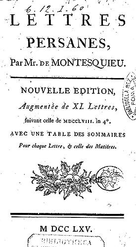 Lettres persanes, par mr. De Montesquieu (1765): Charles-Louis de Secondat