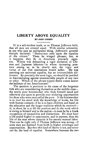 Liberty above Equality (1920) (Volume: 212) [Reprint]: Corbin, John