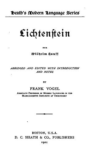 Lichtenstein von Wilhelm Hauff (1901) [Reprint]: Wilhelm Hauff