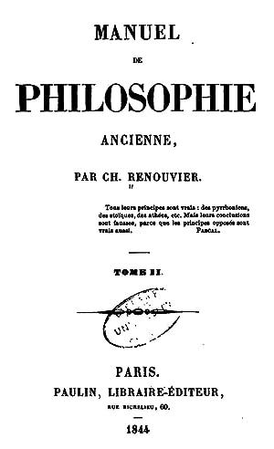 Manuel de philosophie ancienne, Volume 2 [Reprint]: Charles Renouvier