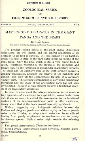 Masticatory apparatus in the giant panda and: Sicher, Harry, 1889-