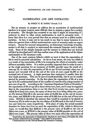 Mathematics and Life Insurance (1920) (Volume: 27): Percy C. H.