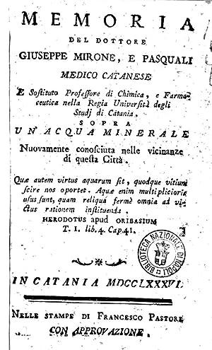 Memoria del dottore Giuseppe Mirone, e Pasquali: Giuseppe Mirone-Pasquali