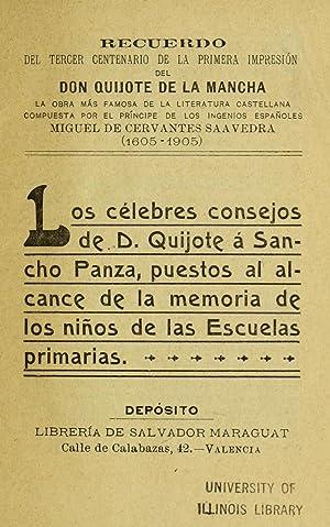 LOS CELEBRES CONSEJOE DE D. QUIJOTE A: Cervantes Saavedra, Miguel
