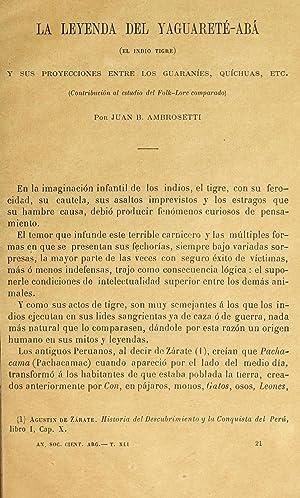 La leyenda del yaguarete-aba; el indio tigre,: Ambrosetti, Juan B.