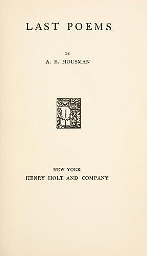 Last poems [Reprint]: Housman, A. E.