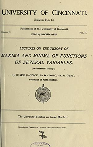 Lectures on the theory of maxima and: Hancock, Harris, 1867-1944