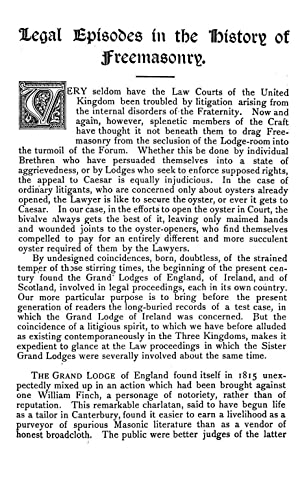 Legal episodes in the history of freemasonry: Crawley, W. J.