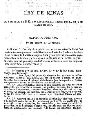 Legislación de minas : comprende la Ley: España