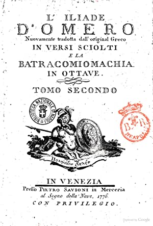 L'Iliade d'Omero nuovamente tradotta dall'original greco in