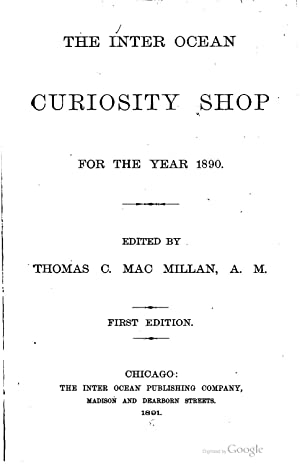The Inter Ocean curiosity shop for the: George Edward Plumbe,