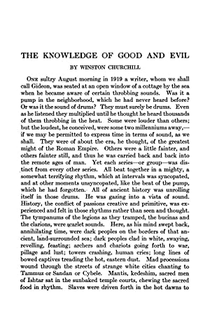 The Knowledge of Good and Evil (1922): Churchill, Winston