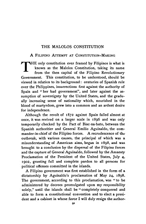 The Malolos Constitution (1921) (Volume: 36) [Reprint]: Malcolm, George A.