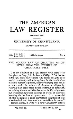 The Modern Law of Charities as Derived: Holland, Rupert Sargent