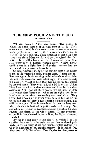 The New Poor and the Old (1920): Corbin, John