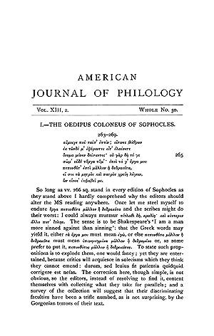 The Oedipus Coloneus of Sophocles [Reprint] Volume: Housman, A. E.