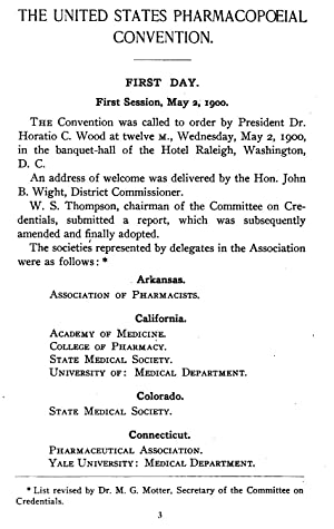 Abstract of Proceedings (1900) [Reprint]: United States Pharmacopeial