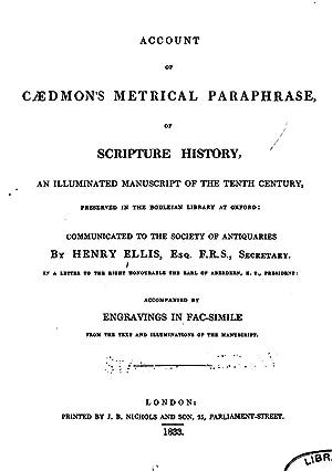 Account of Caedmon's Metrical Paraphrase of Scripture: Henry Ellis ,