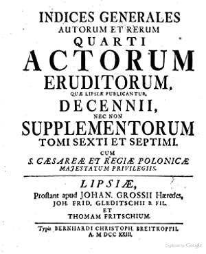 Acta eruditorum - AbeBooks
