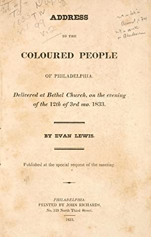 Address to the coloured people of Philadelphia: Lewis, Evan, 1782-1834,Mother