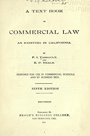 A text book of commercial law, as: Vassault, F. I
