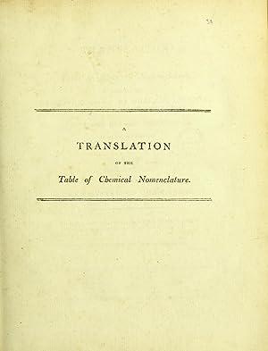 A translation of the table of chemical: Guyton de Morveau,