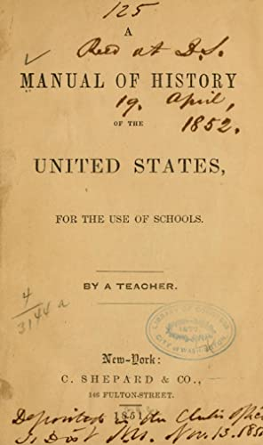 A manual of history of the United