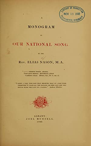 A monogram on our national song [Reprint]: Nason, Elias, 1811-1887