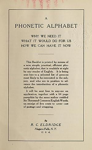 A phonetic alphabet, why we need it: Eldridge, R.C