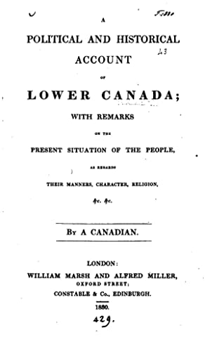 Political Historical Account Lower Canada - AbeBooks