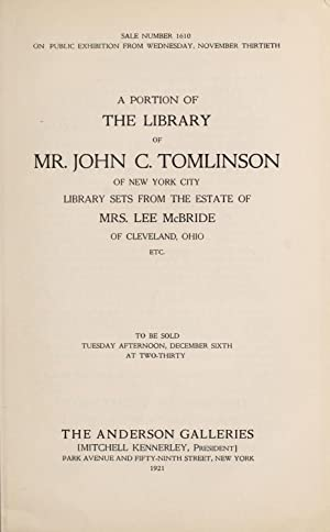 A portion of the library of Mr.: Anderson Galleries, Inc,Anderson