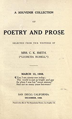 A souvenir collection of poetry and prose: Smith, C. K.,